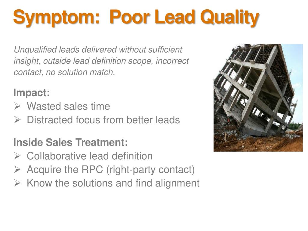 Symptom:  Poor Lead Quality