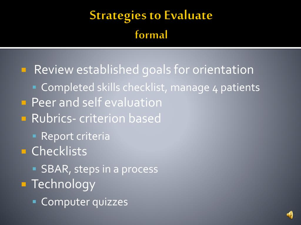 Strategies to Evaluate