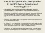 what tuition guidance has been provided by the unc system president and governing board