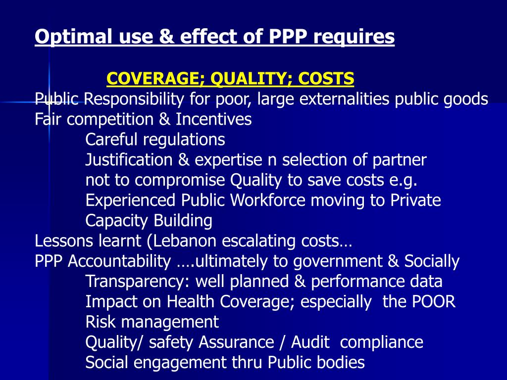 Optimal use & effect of PPP requires