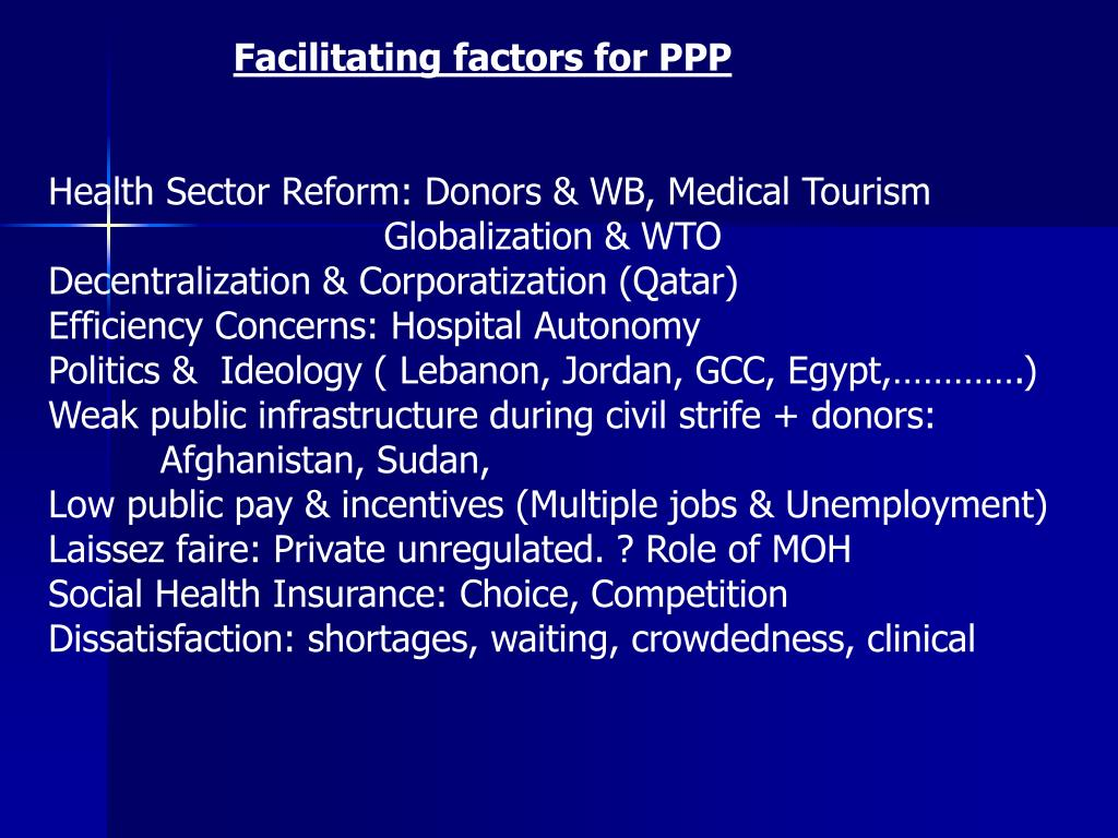 Facilitating factors for PPP