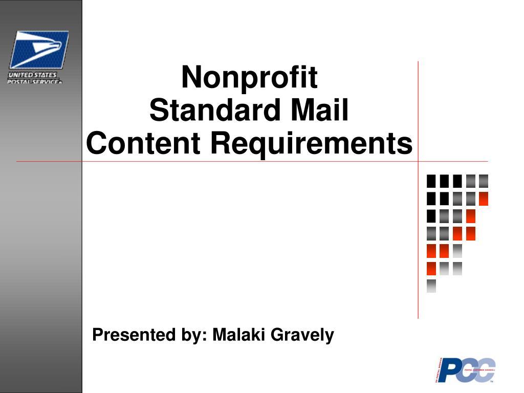 nonprofit standard mail content requirements