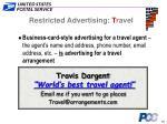 restricted advertising t ravel19