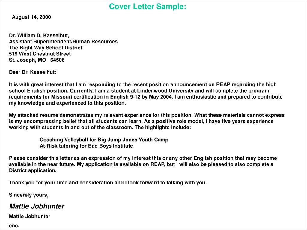 Resumes And Cover Letters For Educators PowerPoint Presentation