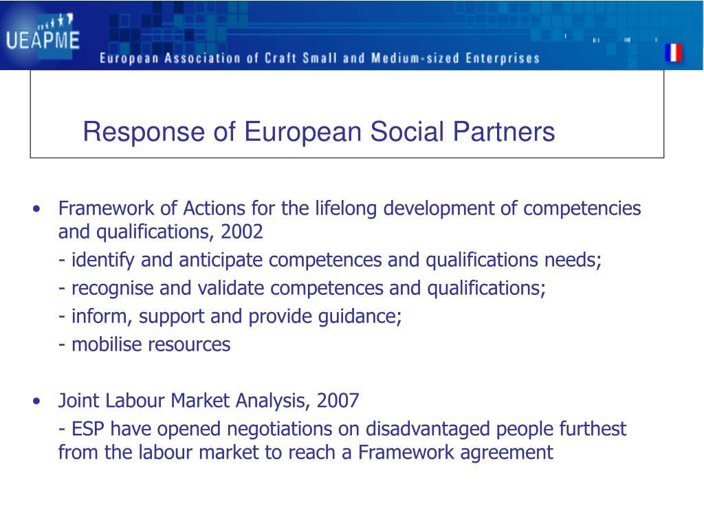Response of European Social Partners