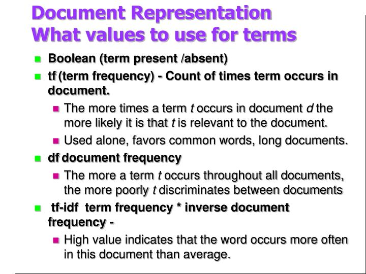 Document representation what values to use for terms