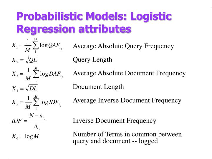 Probabilistic Models: Logistic Regression attributes