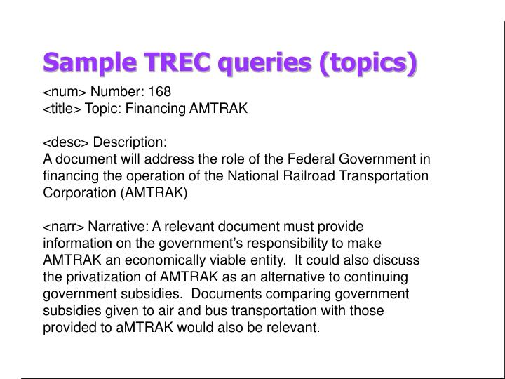 Sample TREC queries (topics)