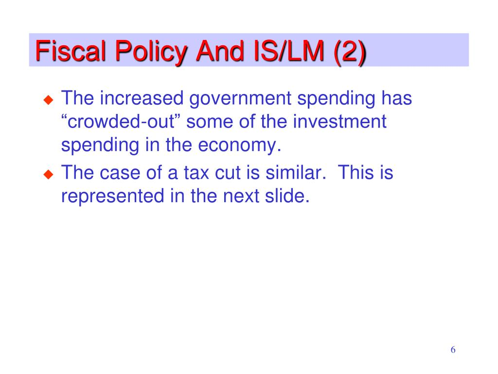Fiscal Policy And IS/LM (2)