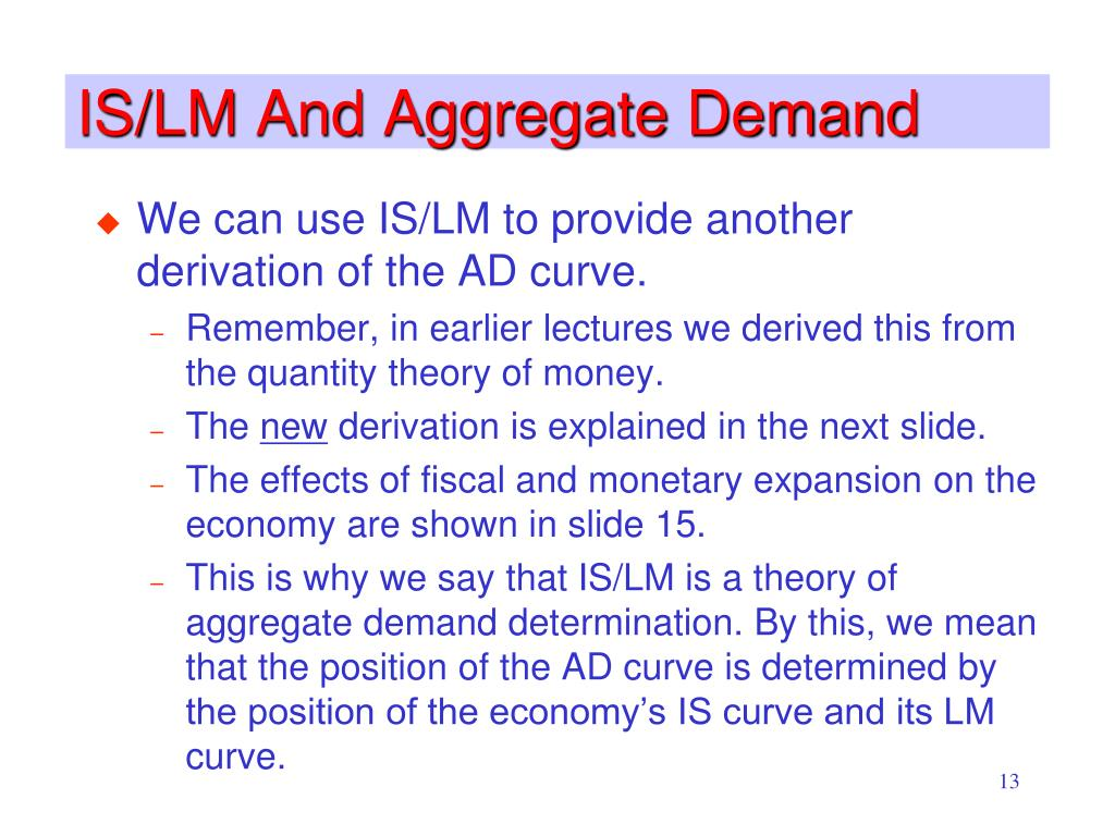 IS/LM And Aggregate Demand