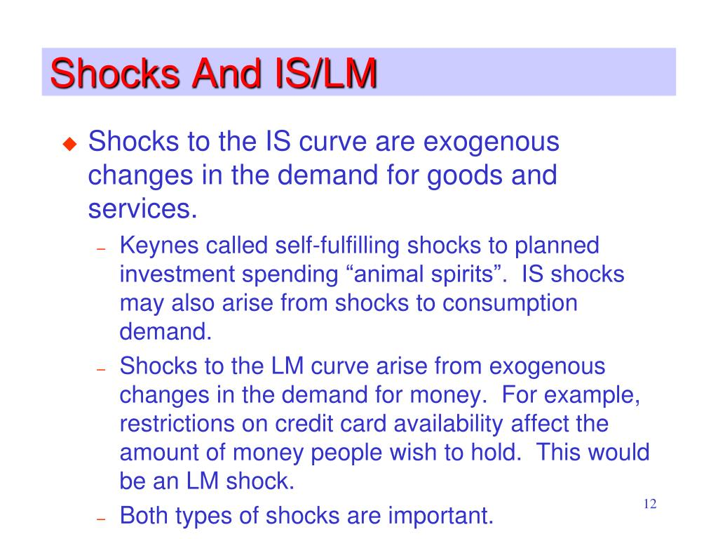 Shocks And IS/LM