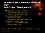wideman and shenhar s views on mbti and project management