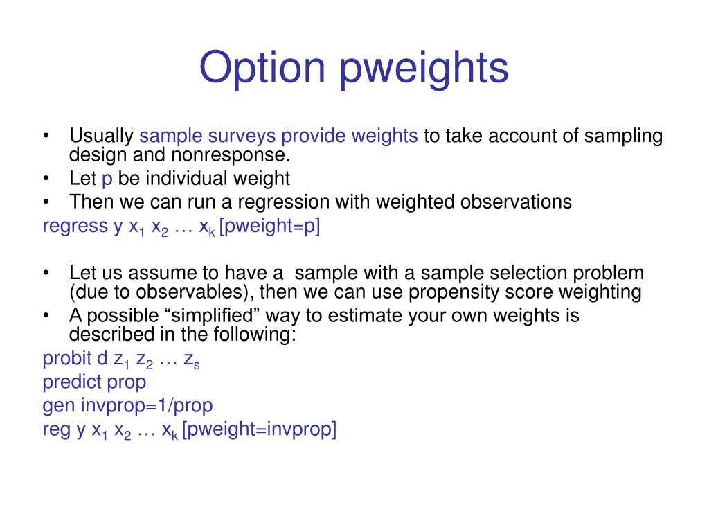 Option pweights