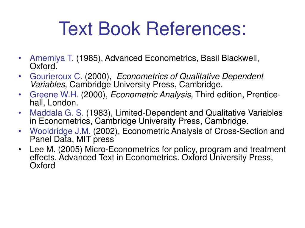 Text Book References:
