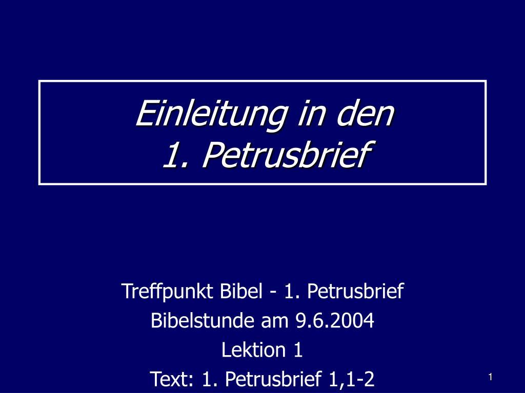 einleitung in den 1 petrusbrief