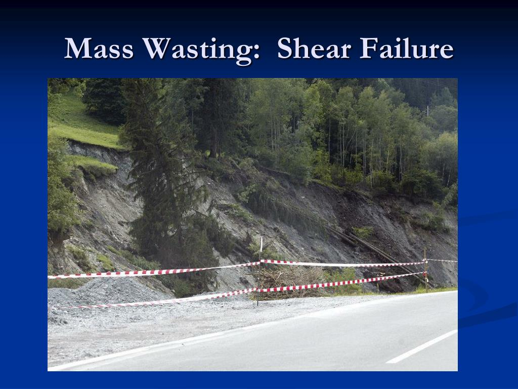 Mass Wasting:  Shear Failure