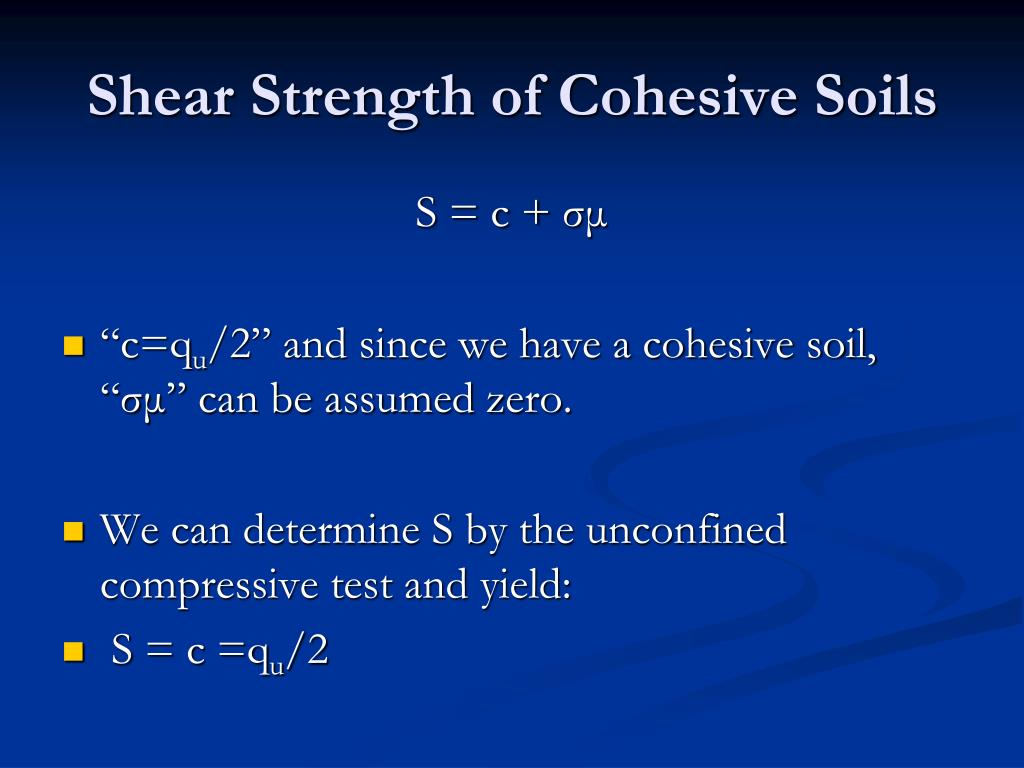 Shear Strength of Cohesive Soils