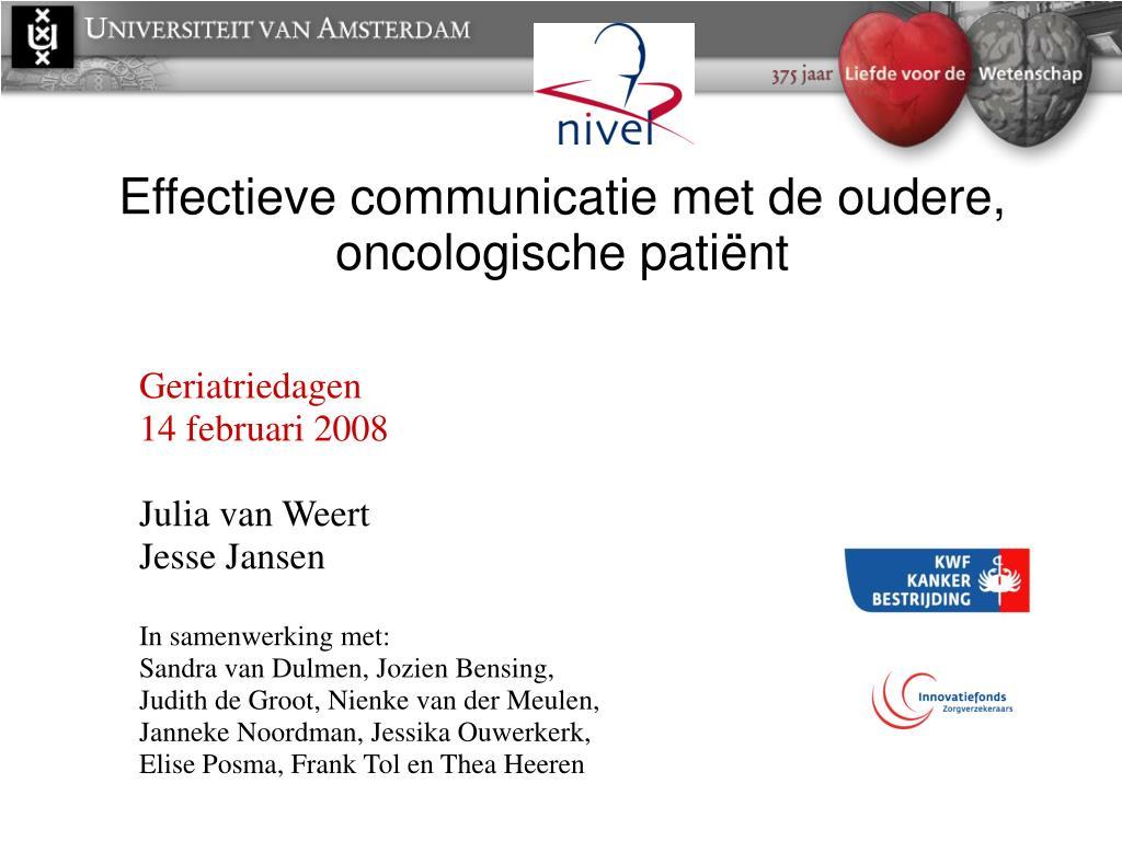 Effectieve communicatie met de oudere, oncologische pati