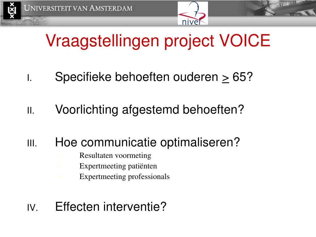 Vraagstellingen project VOICE