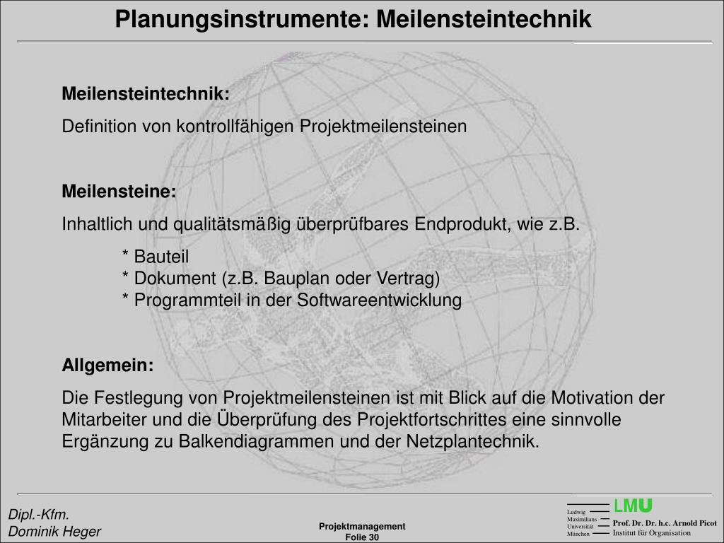 Planungsinstrumente: Meilensteintechnik
