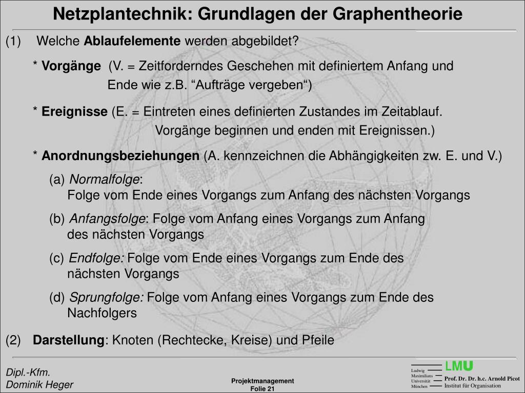 Netzplantechnik: Grundlagen der Graphentheorie