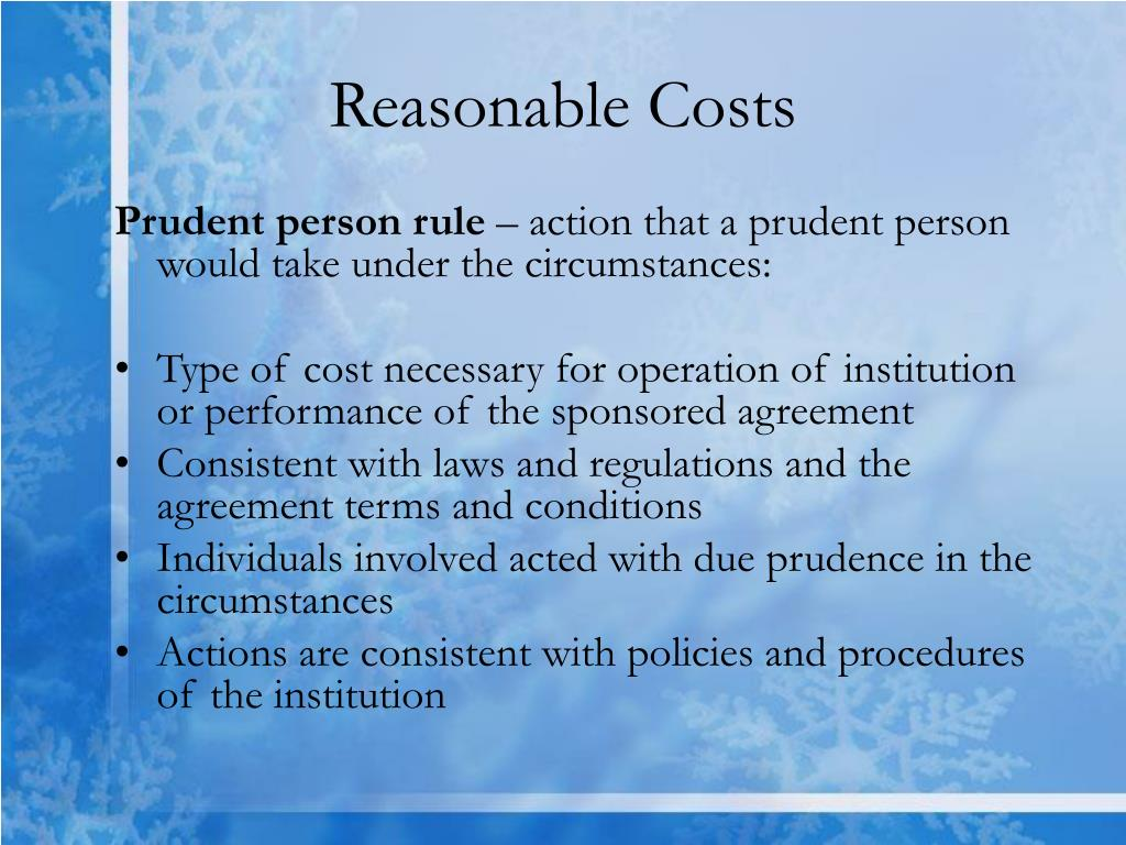 Reasonable Costs