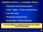 business context a changing world