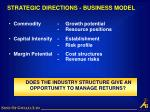 strategic directions business model