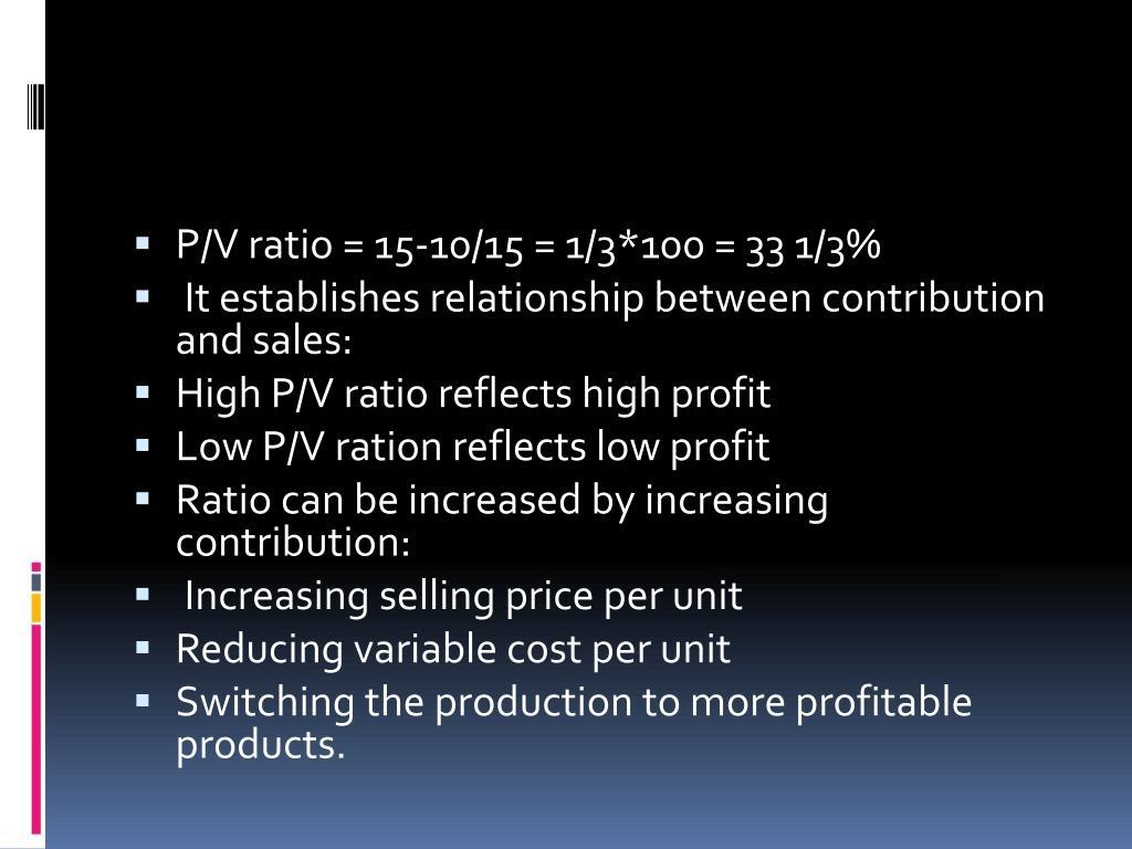 P/V ratio = 15-10/15 = 1/3*100 = 33 1/3%