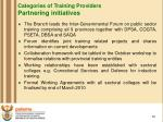 categories of training providers partnering initiatives