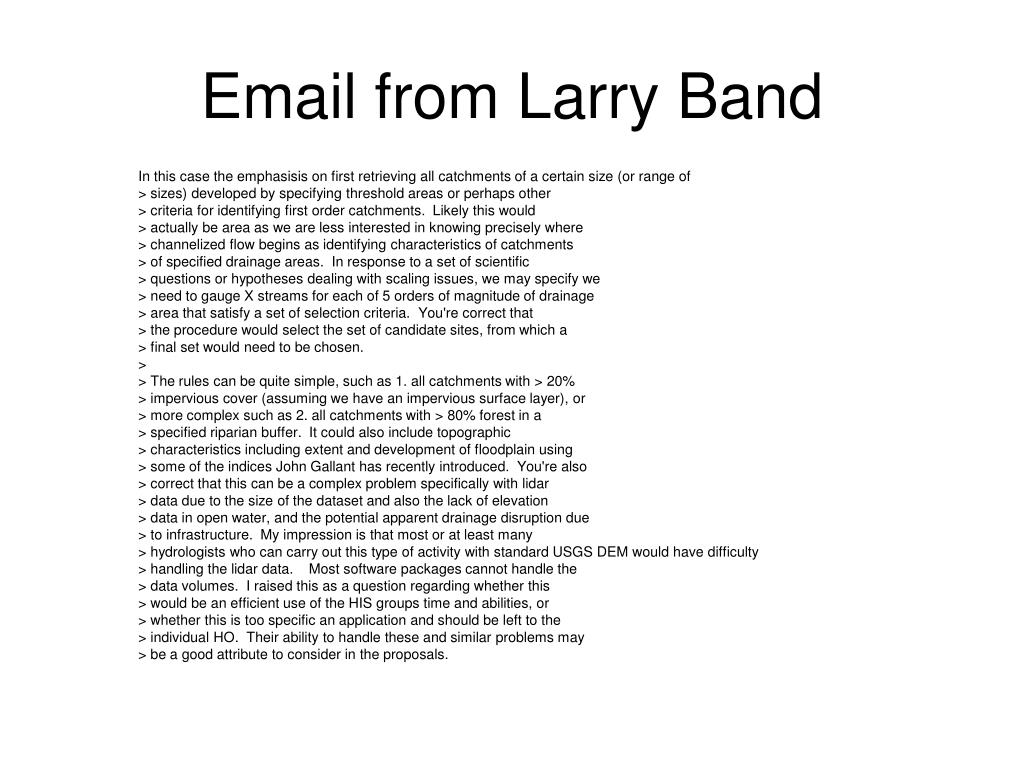 Email from Larry Band