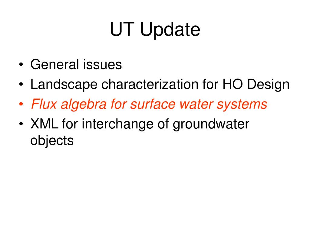 UT Update