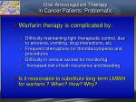 oral anticoagulant therapy in cancer patients problematic