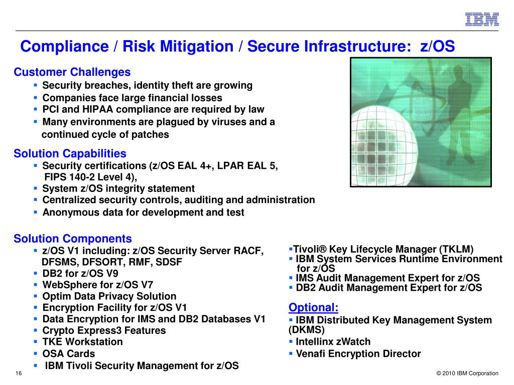 Compliance / Risk Mitigation / Secure Infrastructure:  z/OS