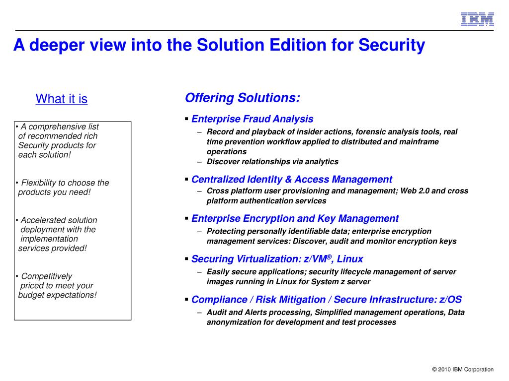 A deeper view into the Solution Edition for Security