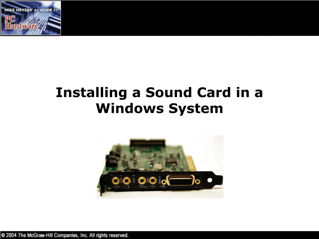 Installing a Sound Card in a Windows System