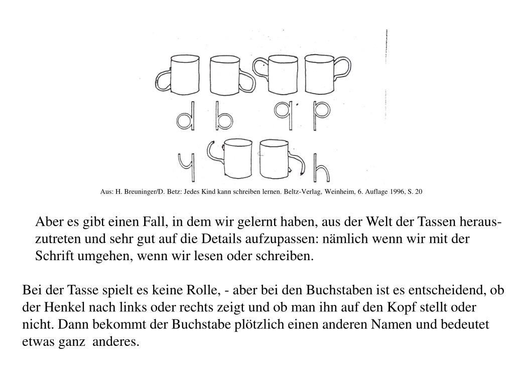 Aus: H. Breuninger/D. Betz: Jedes Kind kann schreiben lernen. Beltz-Verlag, Weinheim, 6. Auflage 1996, S. 20