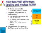 how does voip differ from landline and wireless pstn