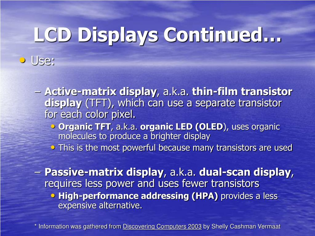 LCD Displays Continued…