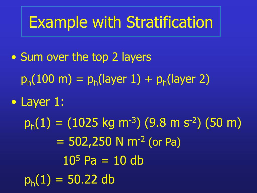 Example with Stratification