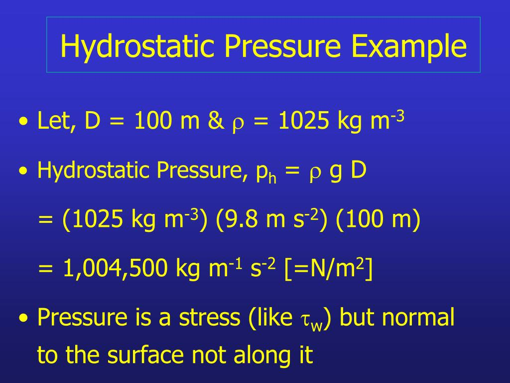 Hydrostatic Pressure Example
