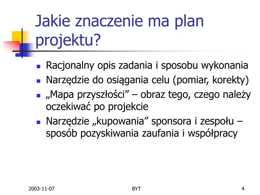 Jakie znaczenie ma plan projektu?