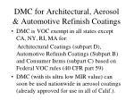 dmc for architectural aerosol automotive refinish coatings