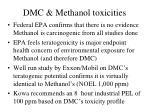 dmc methanol toxicities