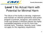 level 1 no actual harm with potential for minimal harm