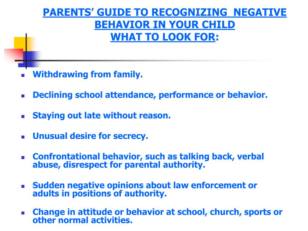 PARENTS' GUIDE TO RECOGNIZING  NEGATIVE  BEHAVIOR IN YOUR CHILD