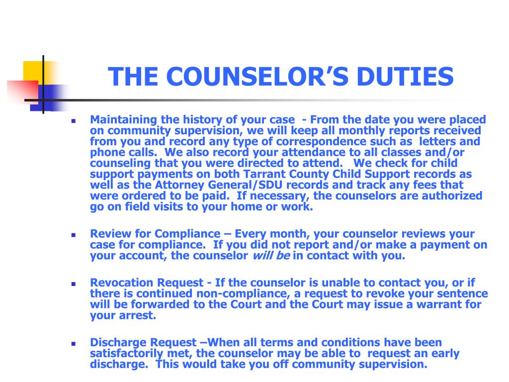 THE COUNSELOR'S DUTIES