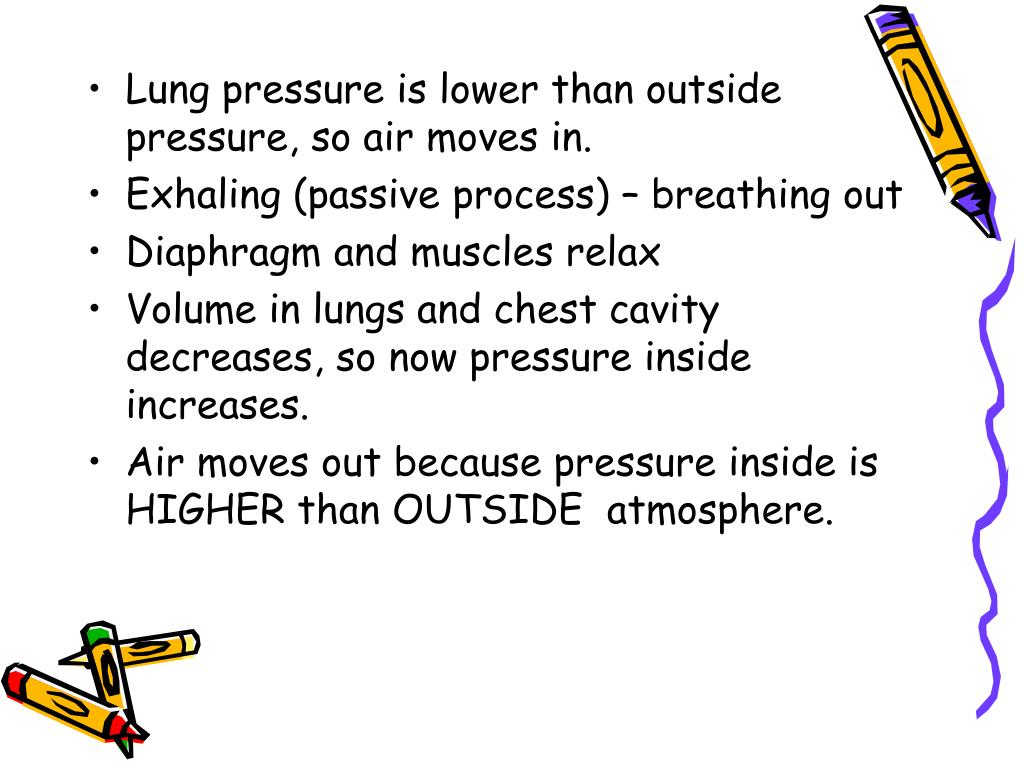 Lung pressure is lower than outside pressure, so air moves in.