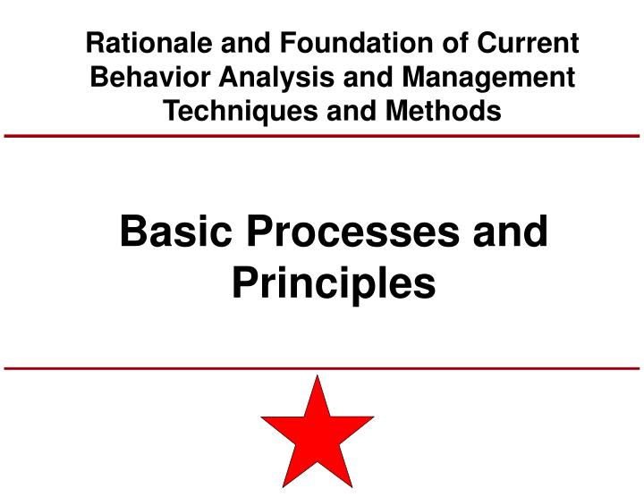 Rationale and Foundation of Current Behavior Analysis and Management Techniques and Methods