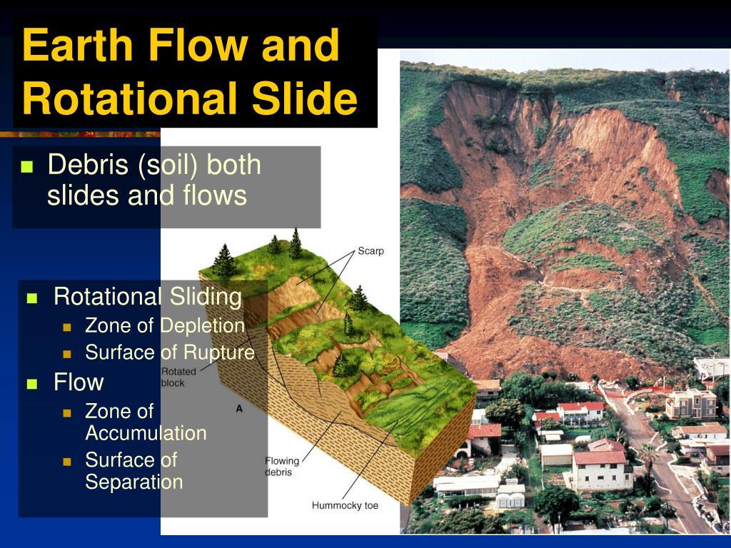 Debris (soil) both slides and flows